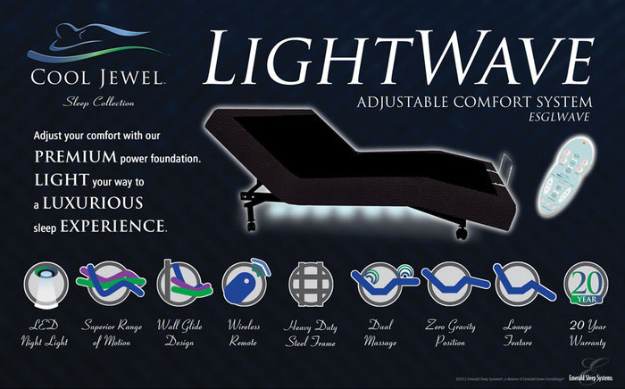 LightWave Adjustable Bed Base with LED Lights & Wireless Remote