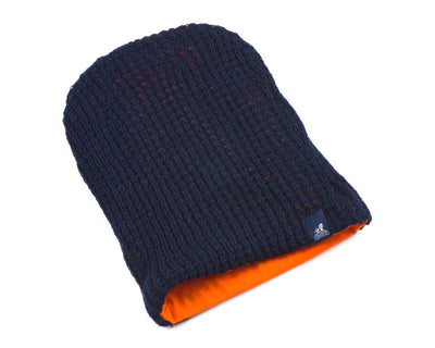 Mens Blue and Orange Chunky Knitted Beanie