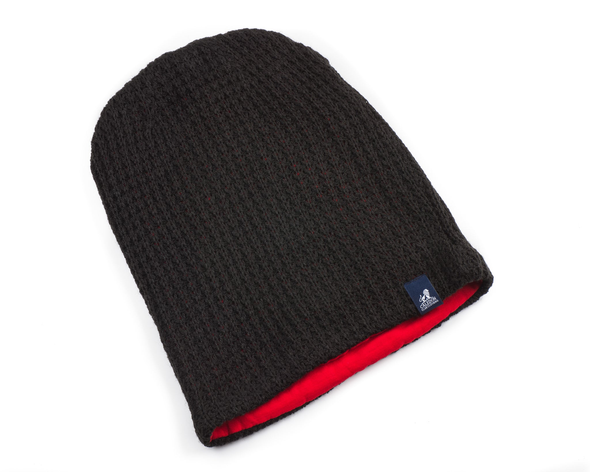 Mens Black and Red Chunky Knitted Beanie