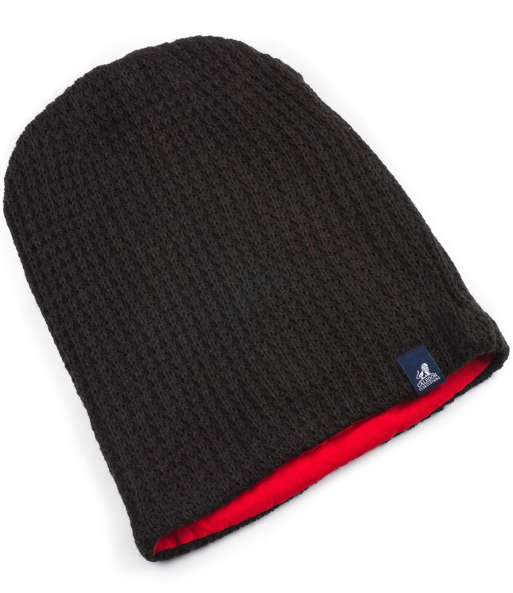 Childs Oversized Black Knitted Beanie with Red Lining