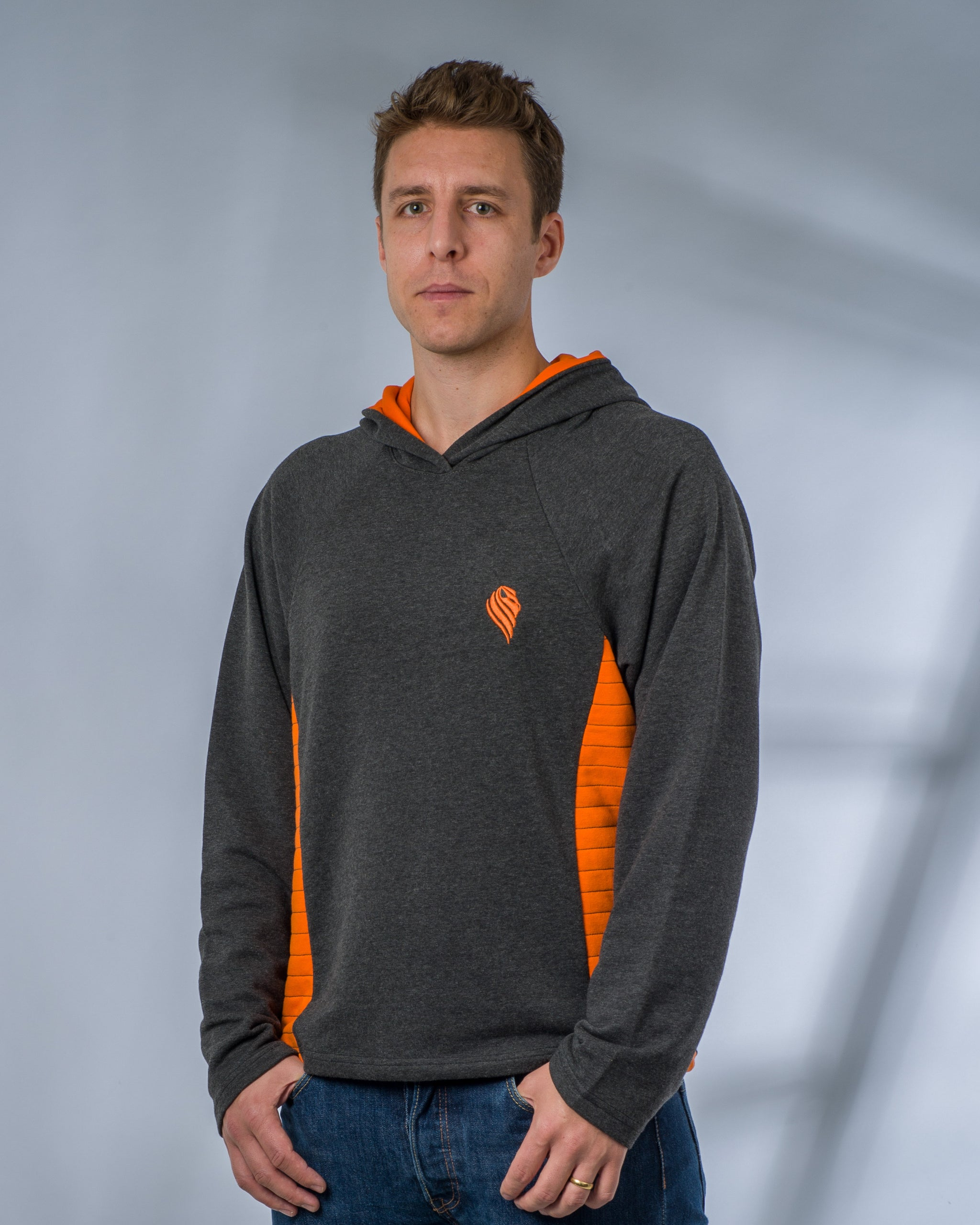 Mens Grey and Orange Hoodie