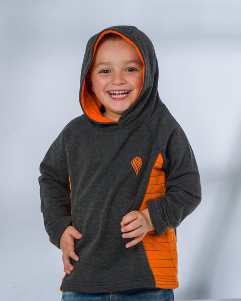 Boys Grey and Orange Contrast Hoodie