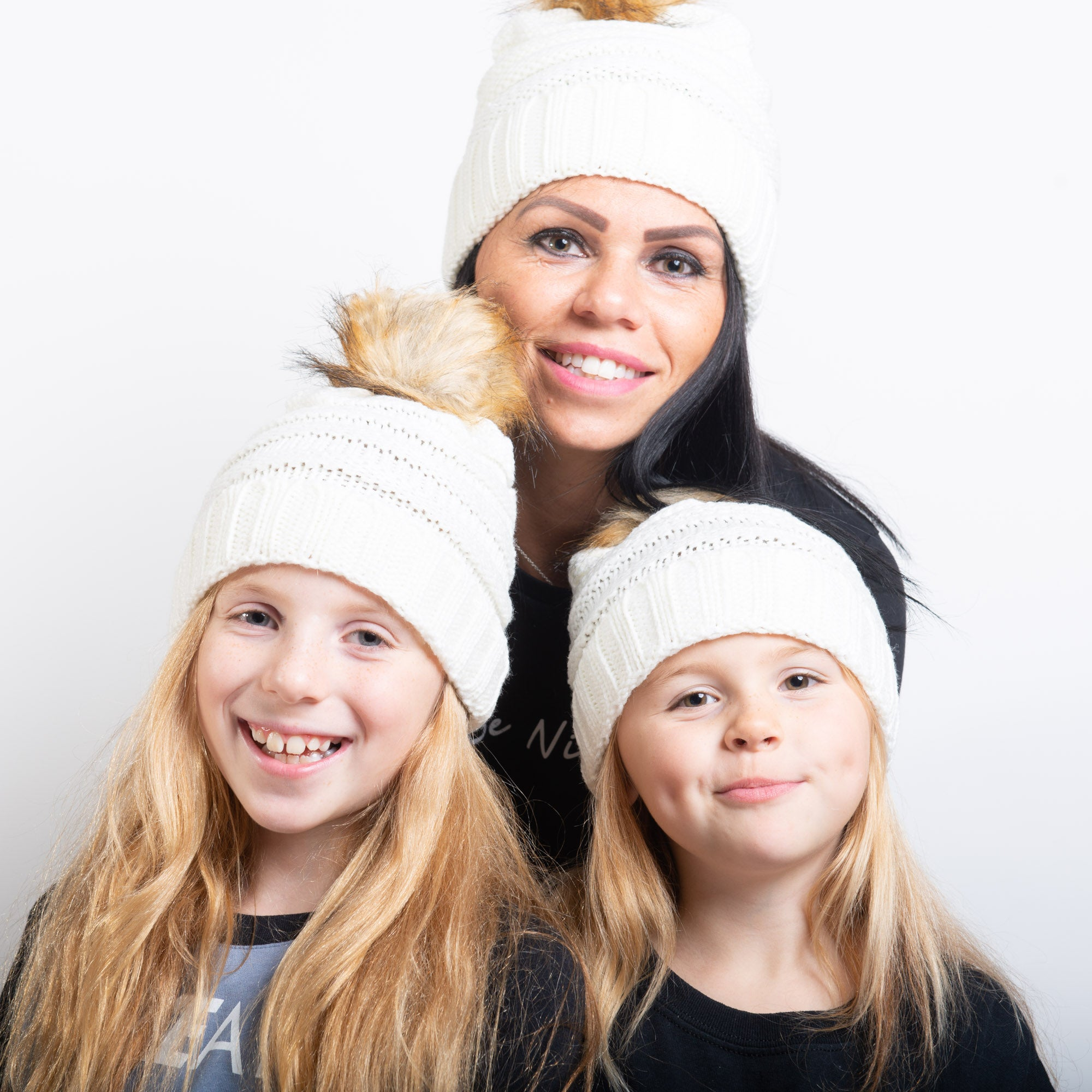 Mother and Child Knitted Bobble Hats