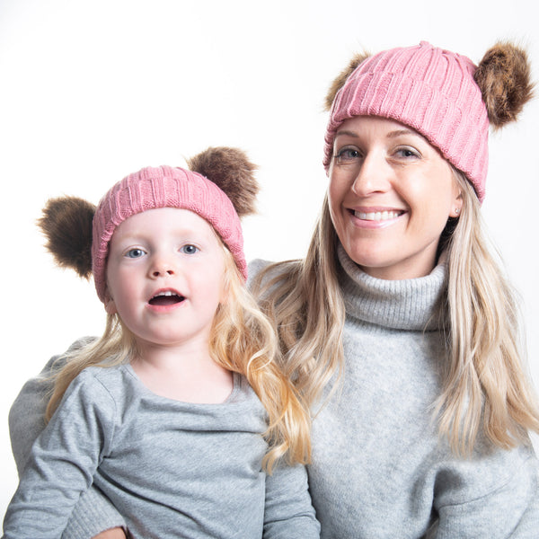 Mother and Child Double Bobble Hats