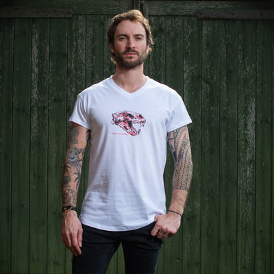 Mens Lion Skull White Cotton T-Shirt