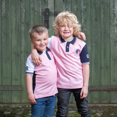 Boys Pink and Navy Polo Shirt