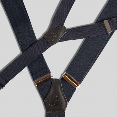 Father and Son Navy Blue and Black Braces Set