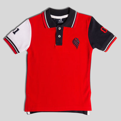 Boys Red and Navy Boy Polo Shirt