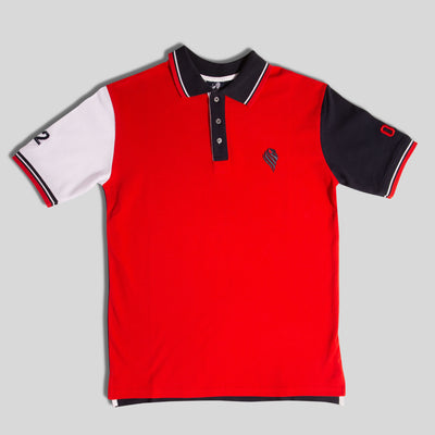 Mens Red and Navy Polo Shirt