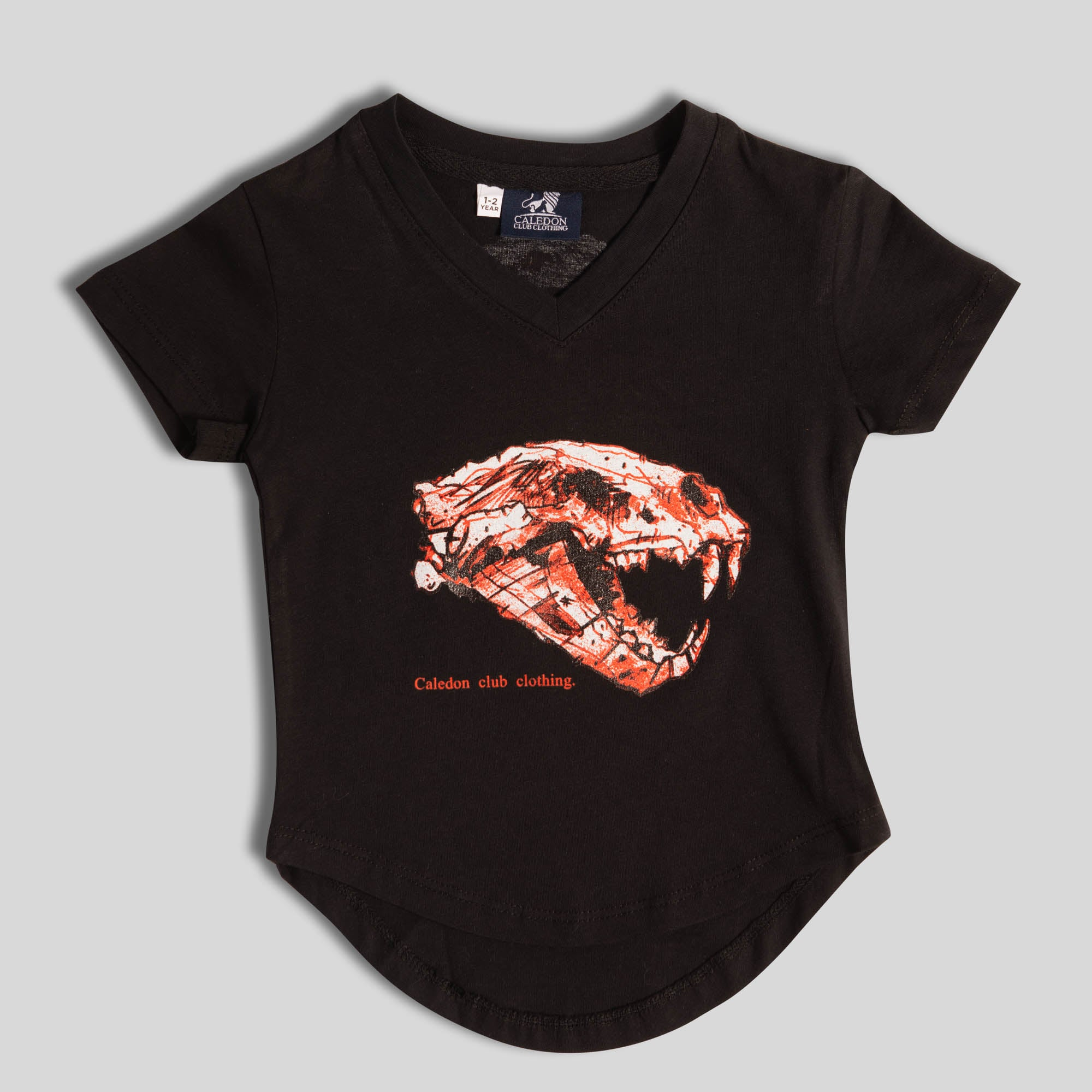 Boys Lion Skull Black Cotton T-Shirt