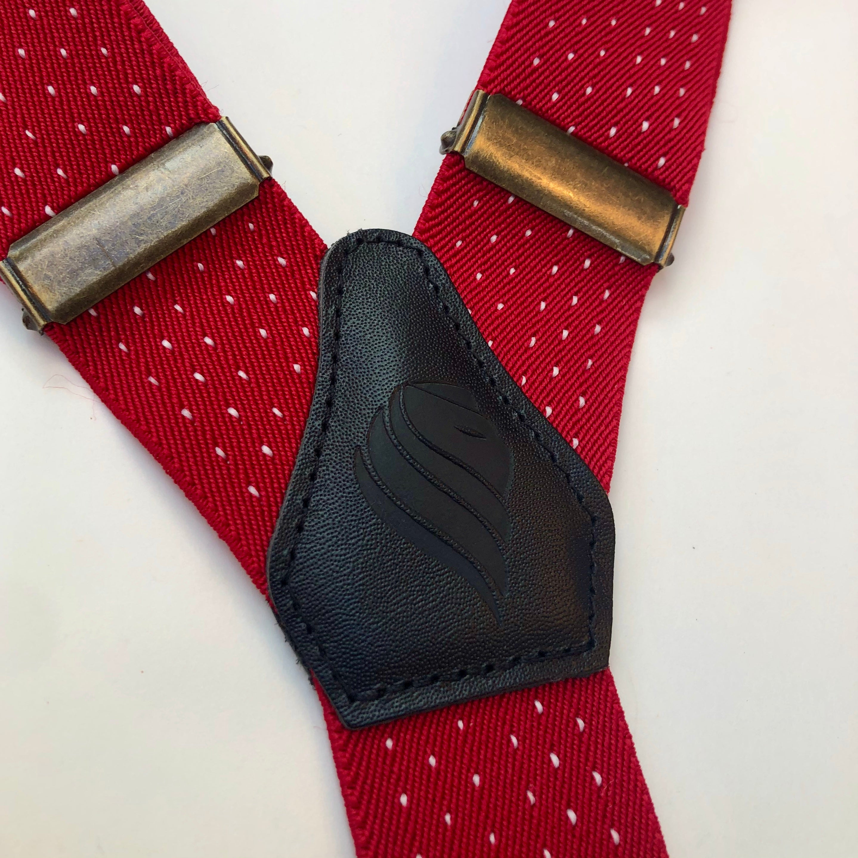Mens Red and White Polka Dot Braces with Black leather