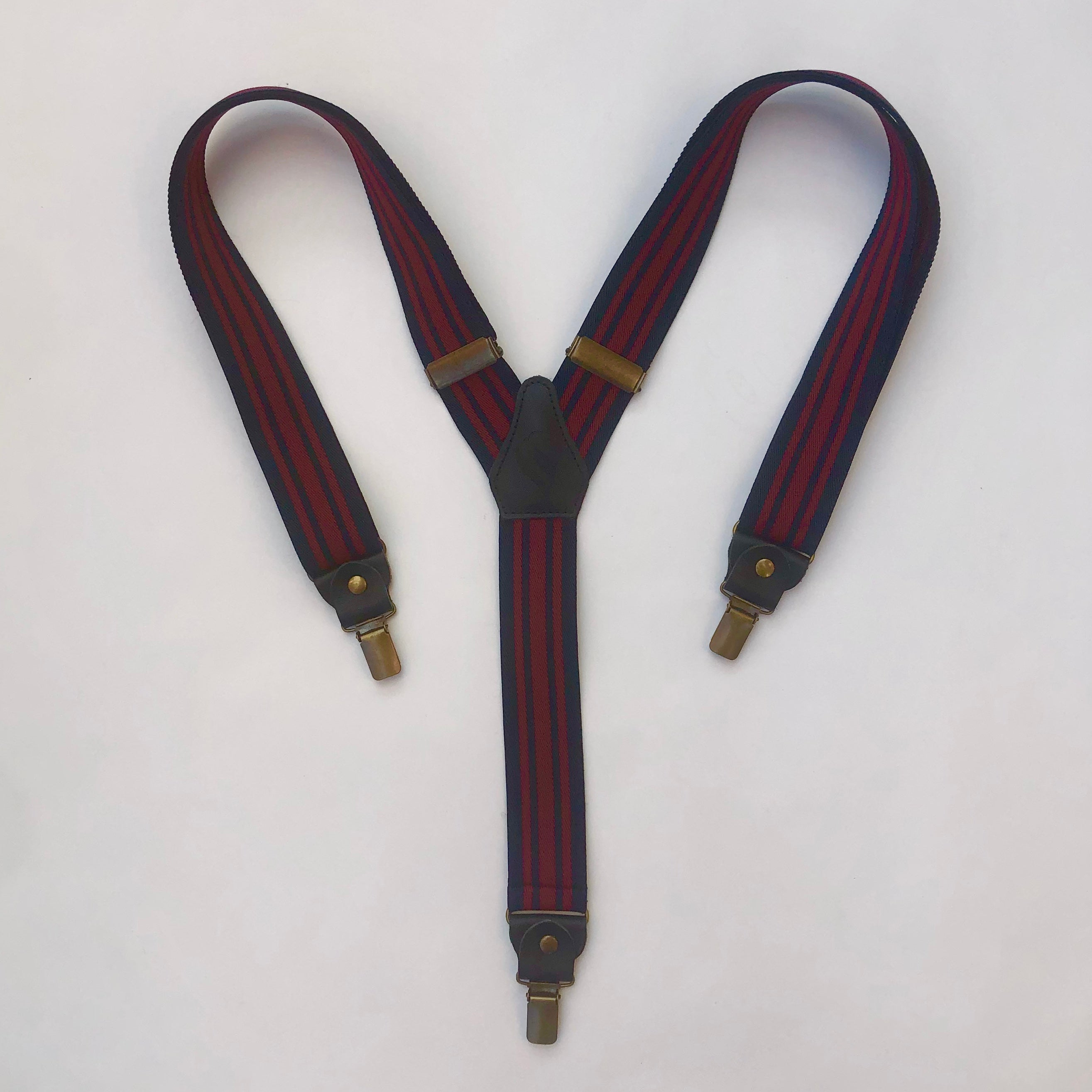 Navy Blue and Red Striped Braces