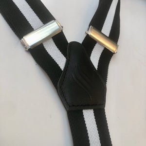 Mens Black and White Stripe Braces