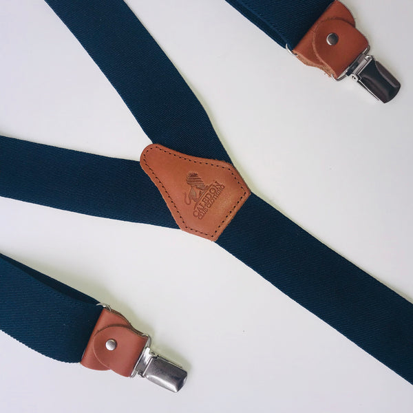 Navy Blue and Brown Braces
