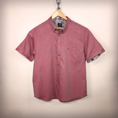 Mens Oxford Pink Short Sleeve Cotton Shirt