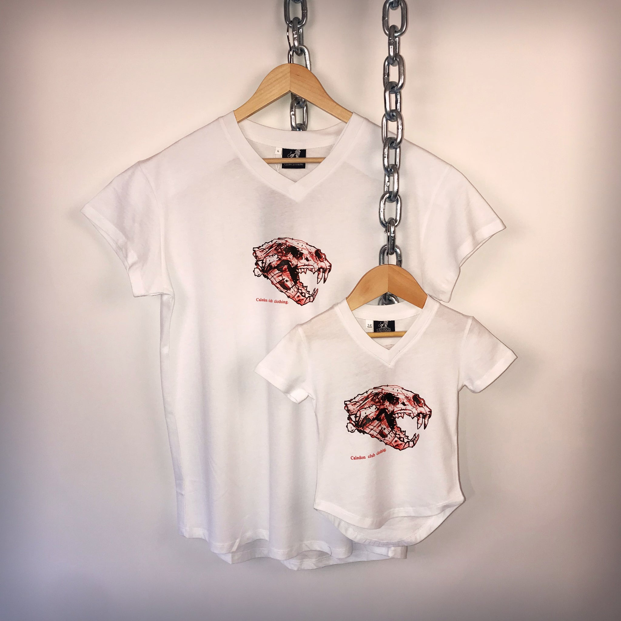 Boys Lion Skull White Cotton T-Shirt