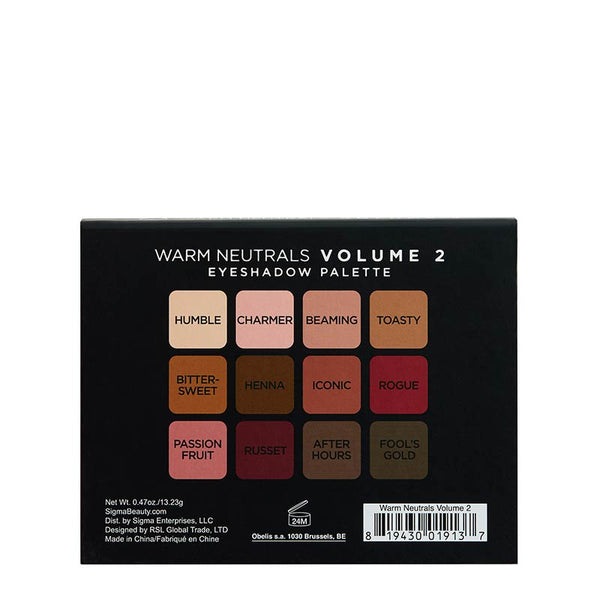 Warm Neutrals Volume 2 Eyeshadow Palette Back