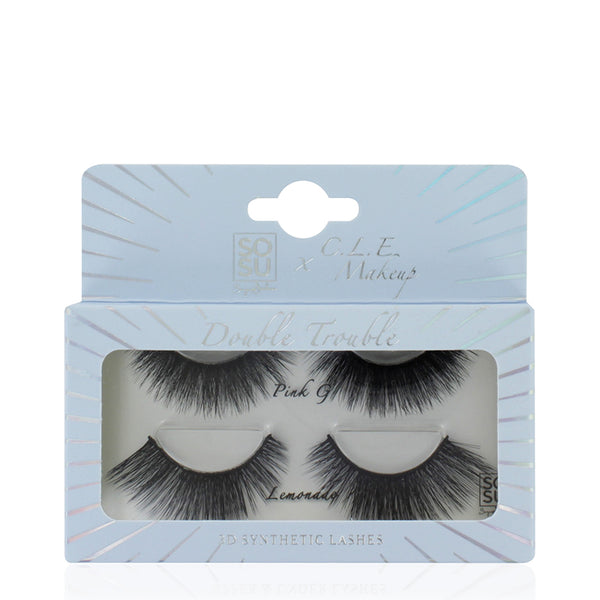 C.L.E. Makeup x SOSU by Suzanne Jackson Double Trouble 3D Synthetic Lashes | False Lashes
