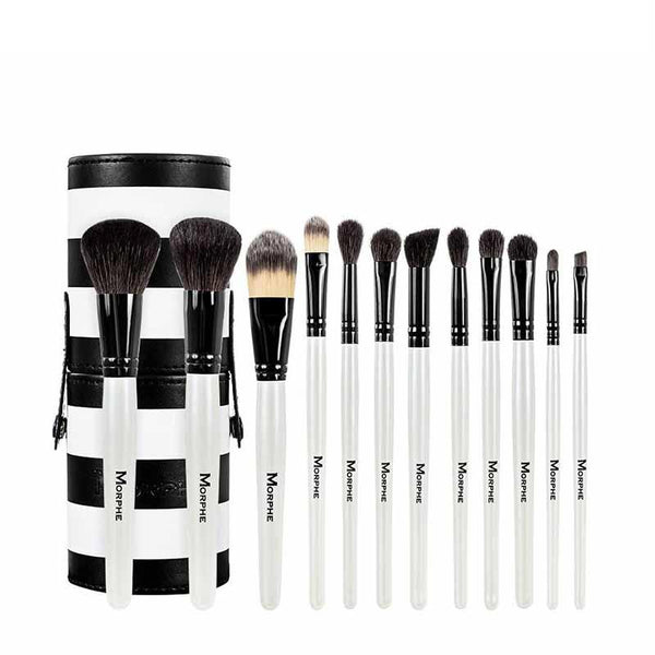 Morphe Set 706 - 12 Piece Black And White Travel Brush Set