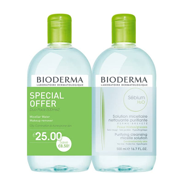 Sebium H2O Micelle Solution - Special Offer Duo  2 x 500ml | Bioderma Micellar Water | Acne prone skin