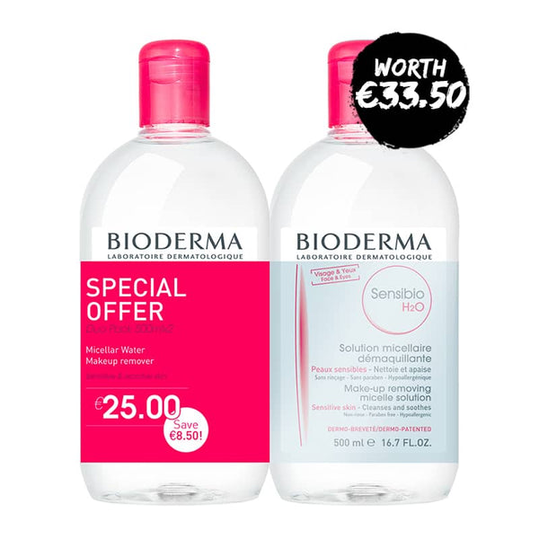Bioderma Sensibio H2O Micelle Solution - Special Offer Duo 2 x 500ml  | Bioderma Sensibio Micellar Water