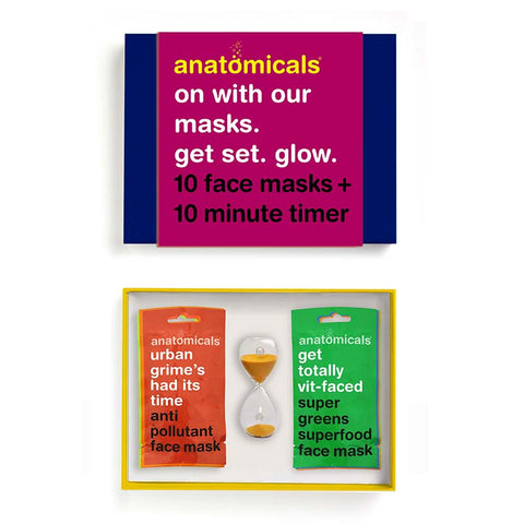Anatomicals On With Our Masks. Get Set. Glow. 10 Face Masks + 10 Minute Sand Timer