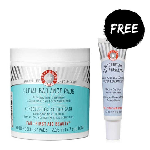 First Aid Beauty Essentials Duo - Facial Radiance Pads (60) with FREE Lip Therapy