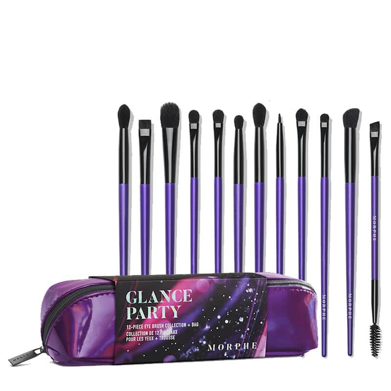 Morphe Glance Party 12 Piece Eye Brush Collection Cloud 10 Beauty Brush kits for eyes, face, contouring, foundation morphe x manny mua brush collection. cloud 10 beauty