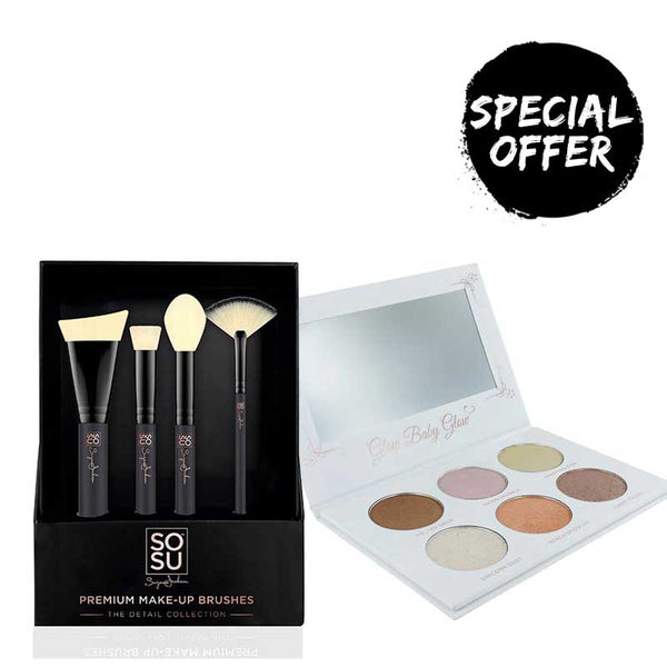 SOSU by Suzanne Jackson Highlighter Kit and 4 Piece Brush Set (worth €54.90)