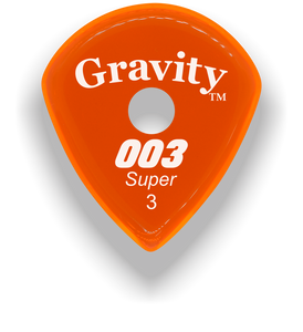 003 Super 3.0mm Orange Single Round Grip Acrylic Guitar Pick Handmade Custom Best Acoustic Mandolin Electric Ukulele Bass Plectrum Bright Loud Faster Speed