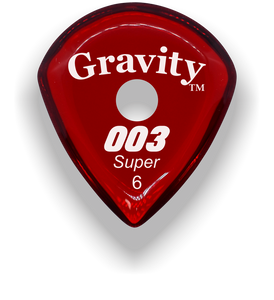 003 Super 6.0mm Red Single Round Grip Acrylic Guitar Pick Handmade Custom Best Acoustic Mandolin Electric Ukulele Bass Plectrum Bright Loud Faster Speed