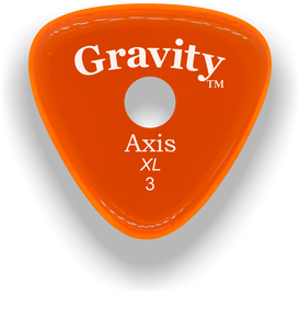 Axis XL 3.0mm Orange Single Round Grip Acrylic Guitar Pick Handmade Custom Best Acoustic Mandolin Electric Ukulele Bass Plectrum Bright Loud Faster Speed