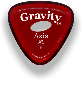 Axis XL 6.0mm Red Elipse Grip Acrylic Guitar Pick Handmade Custom Best Acoustic Mandolin Electric Ukulele Bass Plectrum Bright Loud Faster Speed