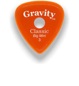 Classic Big Mini 3mm Orange Single Round Grip Hole Polished Bevels Guitar Pick