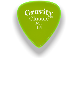 Classic Mini 1.5mm Fluorescent Green Polished Bevels Guitar Pick