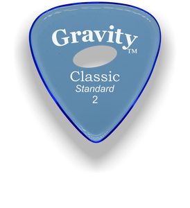 Classic Standard 2mm Blue Elipse Grip Hole Polished Bevels Guitar Pick