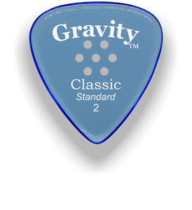 Classic Standard 2mm Blue Multi Hole Grip Polished Bevels Guitar Pick