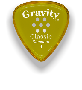 Classic Standard 4mm Yellow Multi Hole Grip Polished Bevels Guitar Pick