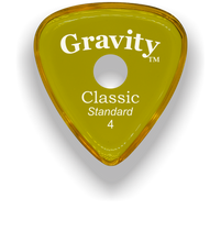 Load image into Gallery viewer, Classic Standard 4mm Yellow Single Round Grip Hole Polished Bevels Guitar Pick