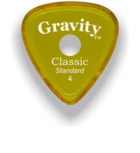 Classic Standard 4mm Yellow Single Round Grip Hole Polished Bevels Guitar Pick