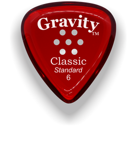 Classic Standard 6mm Red Multi Hole Grip Polished Bevels Guitar Pick
