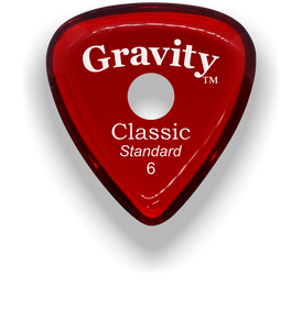 Classic Standard 6mm Red Single Round Grip Hole Polished Bevels Guitar Pick