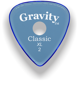 Classic XL 2mm Blue Single Round Grip Hole Polished Bevels Guitar Pick