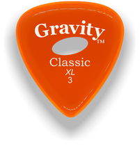 Load image into Gallery viewer, Classic XL 3mm Orange Elipse Grip Hole Polished Bevels Guitar Pick