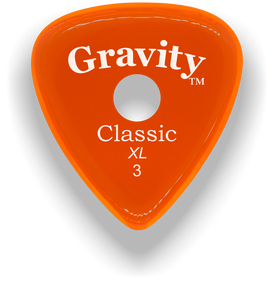 Classic XL 3mm Orange Single Round Grip Hole Polished Bevels Guitar Pick