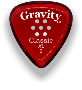 Classic XL 6mm Red Multi Hole Grip Polished Bevels Guitar Pick