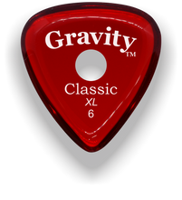 Load image into Gallery viewer, Classic XL 6mm Red Single Round Grip Hole Polished Bevels Guitar Pick