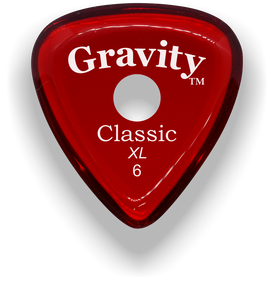 Classic XL 6mm Red Single Round Grip Hole Polished Bevels Guitar Pick