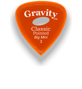 Classic Pointed Big Mini 3.0mm Orange Elipse Grip Acrylic Guitar Pick Handmade Custom Best Acoustic Mandolin Electric Ukulele Bass Plectrum Bright Loud Faster Speed