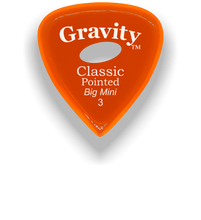 Load image into Gallery viewer, Classic Pointed Big Mini 3.0mm Orange Elipse Grip Acrylic Guitar Pick Handmade Custom Best Acoustic Mandolin Electric Ukulele Bass Plectrum Bright Loud Faster Speed